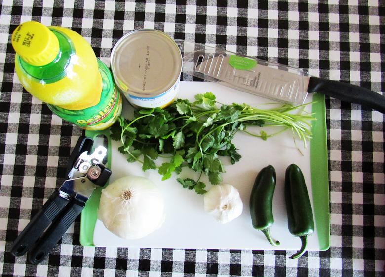 Pineapple Salsa Ingredients: Canned pineapple, onion, garlic, jalapeno, salt, and lemon juice